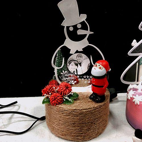 聖誕雪人造型壓克力燈【15公分相片影雕】